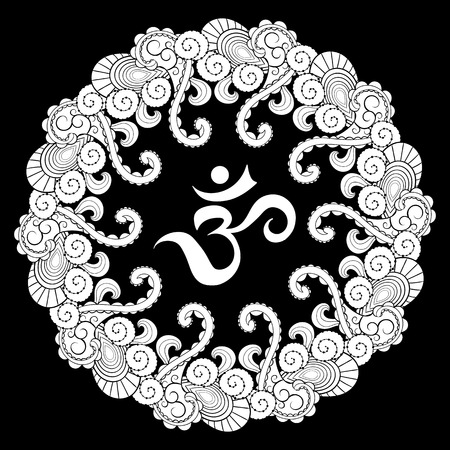 sanskrit: Sanskrit symbol hieroglyph in round mandala frame. Illustration Om in round mandala was created in doodling style in black and white colors.