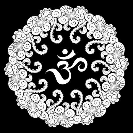 sanskrit: Sanskrit symbol hieroglyph in round mandala frame. Illustration Om in round mandala was created in doodling style in black and white colors.