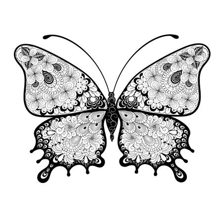 イラスト「バタフライ」は、黒と白の色でだらだらスタイルで作成されました。 塗装のイメージは、白い背景に分離されます。 それは大人および他