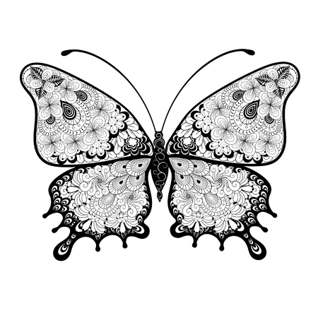 Illustration Buttefly was created in doodling style in black and white colors.  Painted image is isolated on white background.  It  can be used for coloring books for adult and other decorations.