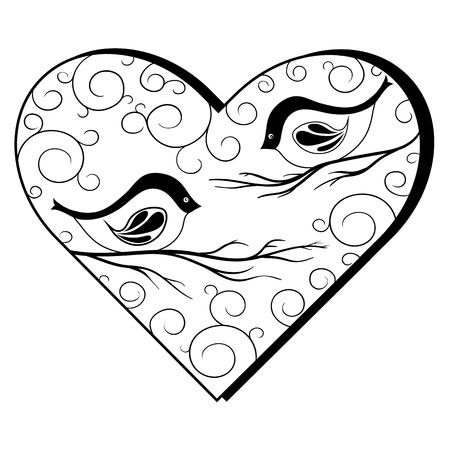 Die wichtigsten Symbole der Darstellung sind Gimpel auf Zweigen. Bild gehört zu Themen der Neujahrstag und Valentinstag. Es kann als Grußkarte, Postkarte verwendet werden. Standard-Bild - 66954430