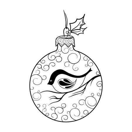 """Illustration """"Christmas Ball"""" wurde in Schwarz-Weiß-Farben erstellt. Gemaltes Bild ist auf weißem Hintergrund isoliert. Es kann zum Ausmalen von Büchern für Erwachsene und andere Dekorationen verwendet werden. Standard-Bild - 68631890"""