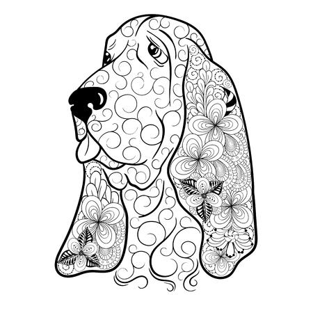 """Illustration """"Dog"""" wurde in kritzeln Stil in Schwarz-Weiß-Farben. Gemaltes Bild ist isoliert auf weißem Hintergrund. Es kann für die Färbung Bücher für Erwachsene verwendet werden. Standard-Bild - 68631894"""