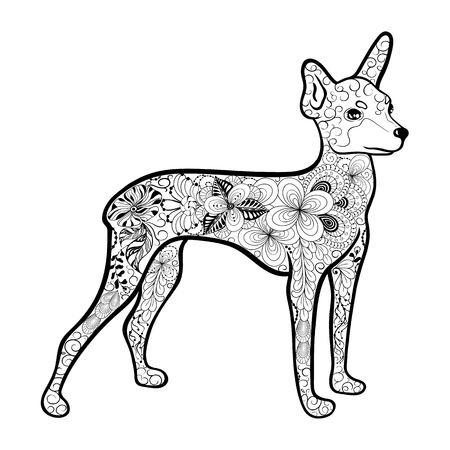 """Illustration """"Toy Terrier"""" wurde in kritzeln Stil in Schwarz-Weiß-Farben. Gemaltes Bild ist isoliert auf weißem Hintergrund. Es kann für die Färbung Bücher für Erwachsene verwendet werden. Standard-Bild - 68631895"""