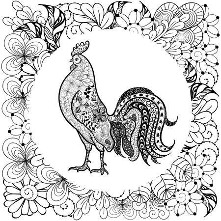 """Illustration """"Hahn"""" wurde in doodling Stil in Schwarz-Weiß-Farben. Es kann für die Färbung Bücher für Erwachsene verwendet werden. Standard-Bild - 68631897"""