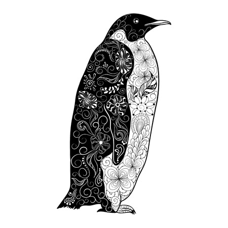 """Illustration """"Penguin"""" wurde in kritzeln Stil in Schwarz-Weiß-Farben. Gemaltes Bild ist isoliert auf weißem Hintergrund. Es kann für die Färbung Bücher für Erwachsene verwendet werden. Standard-Bild - 68631898"""