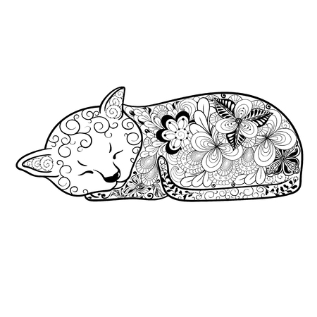 painted image: Illustration Cat was created in doodling style in black and white colors.  Painted image is isolated on white background. It  can be used for coloring books for adult and other decorations.