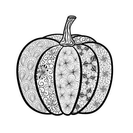 """Illustration """"Kürbis"""" wurde in doodling Stil in Schwarz-Weiß-Farben. Gemaltes Bild ist isoliert auf weißem Hintergrund. Es kann für die Färbung Bücher für Erwachsene und andere Dekorationen verwendet werden. Standard-Bild - 68631902"""