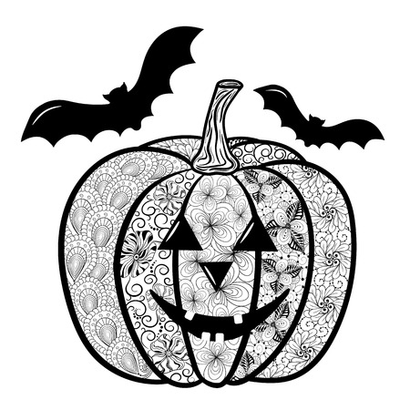 painted image: Illustration Halloween pumpkin was created in doodling style in black and white colors.  Painted image is isolated on white background.  It  can be used for coloring books for adult and other decorations.