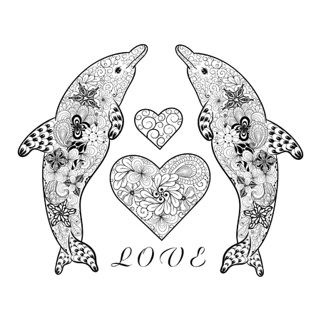 """Illustration """"Dolphins"""" wurde in doodling Stil in Schwarz-Weiß-Farben. Gemaltes Bild ist isoliert auf weißem Hintergrund. Es kann für die Färbung Bücher für Erwachsene und andere Dekorationen verwendet werden. Standard-Bild - 68631905"""