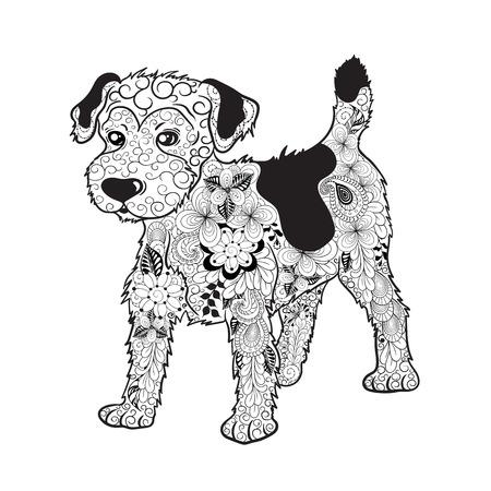 """Illustration """"Hund"""" wurde in doodling Stil in Schwarz-Weiß-Farben erstellt. Es kann für das Färben von Büchern für Erwachsene verwendet werden. Standard-Bild - 75360212"""