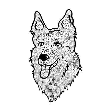 """Illustration """"Shepherd Dog"""" wurde in doodling Stil in Schwarz-Weiß-Farben erstellt. Standard-Bild - 75324575"""