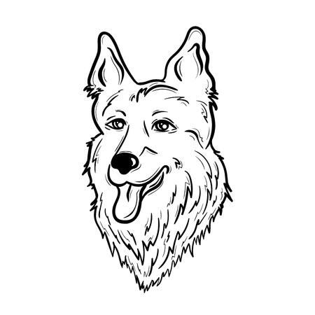 """Illustration """"Shepherd"""" wurde in Schwarz-Weiß-Farben erstellt. Gemaltes Bild ist auf weißem Hintergrund isoliert. Es kann für das Färben von Büchern für Erwachsene verwendet werden. Standard-Bild - 75610945"""