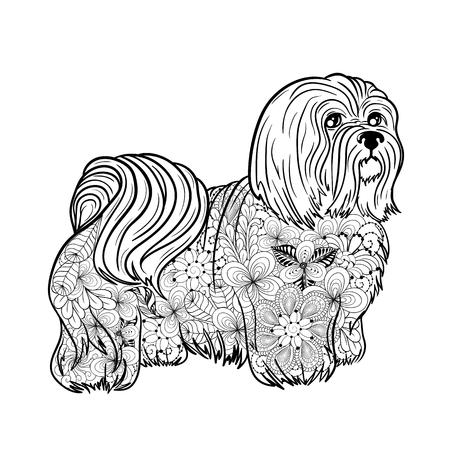 """Illustration """"Malteser"""" wurde in doodling Art in den schwarzen und weißen Farben hergestellt. Gemaltes Bild wird auf weißem Hintergrund lokalisiert. Es kann zum Ausmalen von Büchern für Erwachsene verwendet werden. Standard-Bild - 75610946"""