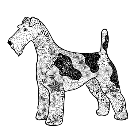 """Illustration """"Fox terrier dog"""" was created in doodling style in black and white colors. Painted image is isolated on white background. It can be used for coloring books for adult."""