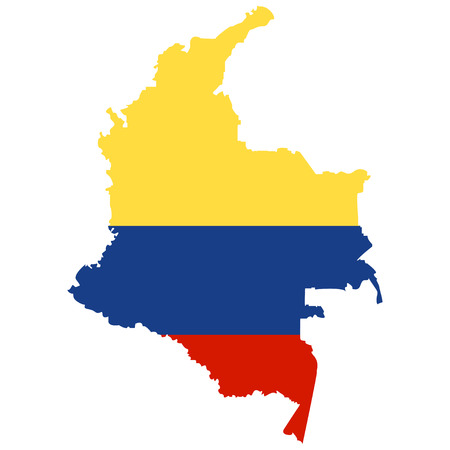 republic of colombia: Territory of Colombia on a white background