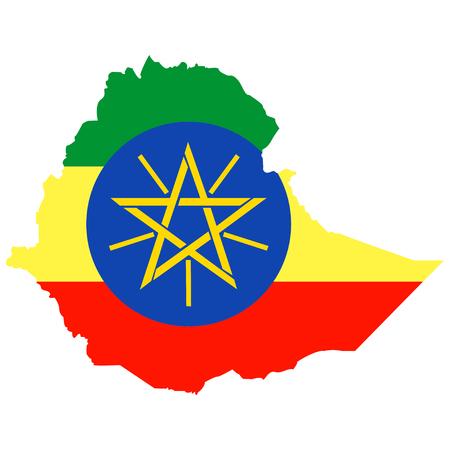 national flag ethiopia: Territory of Ethiopia on a white background