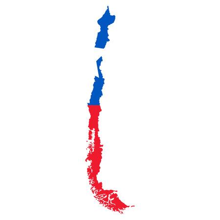 bandera chilena: Territorio de Chile sobre un fondo blanco