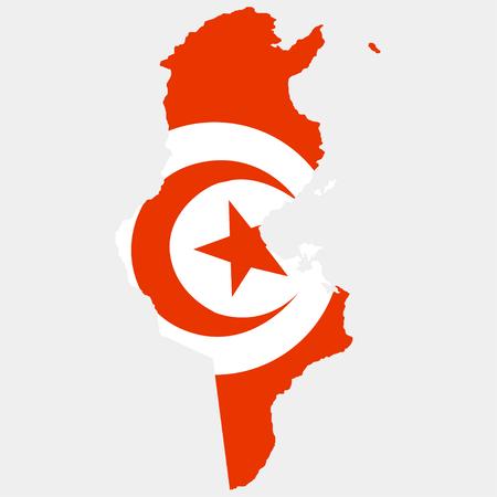 Territory and flag of Tunisia Illustration