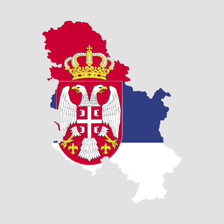 Territory and flag of Serbia Illustration