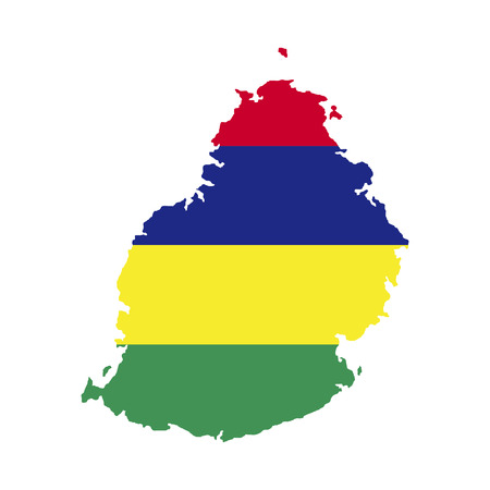 Territory and flag of Mauritius Illustration