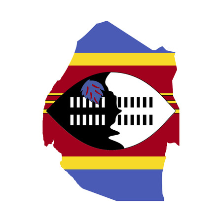 swaziland: Territory and flag of Swaziland Illustration
