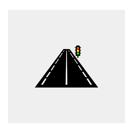 schlagbaum: Highway road with traffic lights Illustration