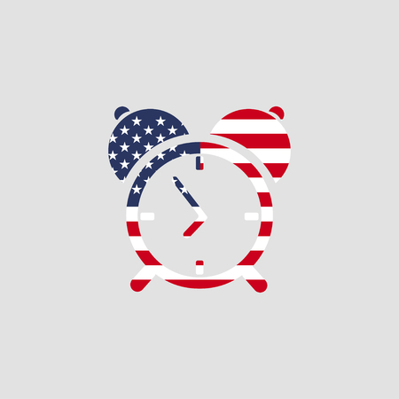 hands  hour: Clock icon with USA flag