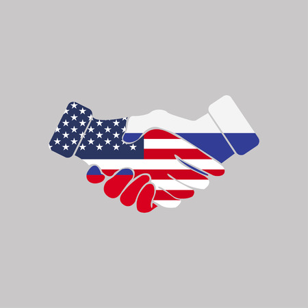 Handshake icon with USA and Russia flags