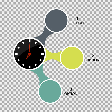 Infographics number options with clock Illustration