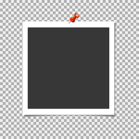 Photo frame with shadow and red pin on isolate background. Vector template for your trendy and stylish photo or image