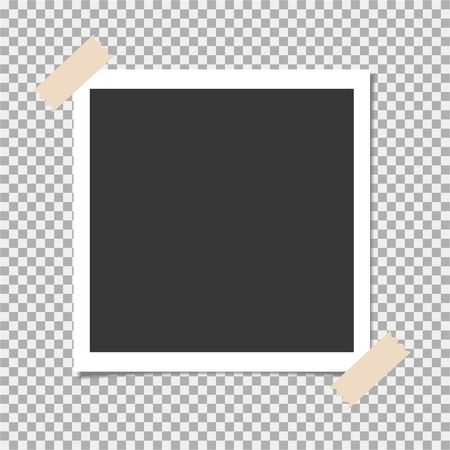 Photo frame with adhesive, sticky tape on isolate background. Template for your photo or image