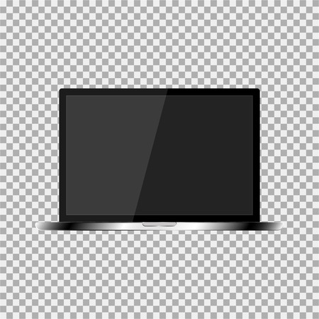 responsive design: Realistic laptop with a dark screen on the transparent background. Stylish, modern, trendy laptop. Illustration