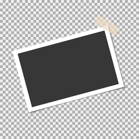 Photo frame with sticky tape on isolate background. Template for your photo or image Illustration