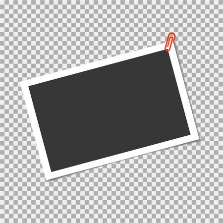 Photo frame with staple on transparent background. Vector template, blank for trendy and stylish photo or image Illustration