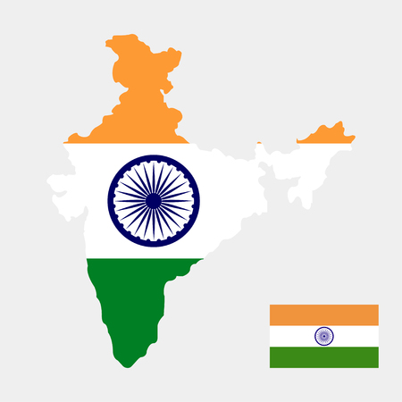 Territory and flag of India Illustration