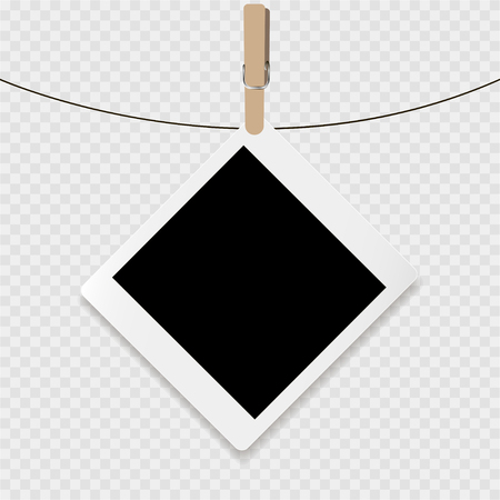delineation: Photoframe with white contour and clip on a transparent background
