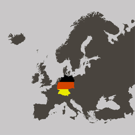 Territory of Germany with flag on Europe map