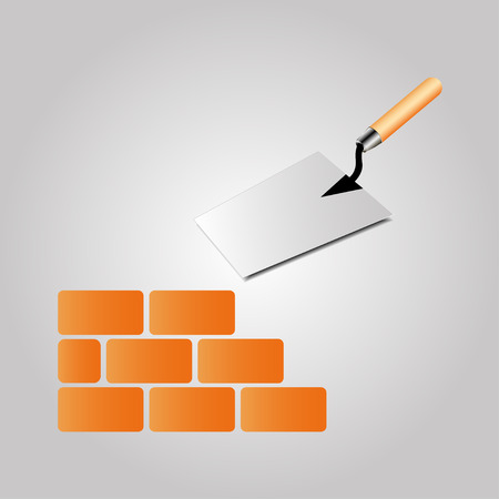 Trowel sign with bricks on a grey background Illustration