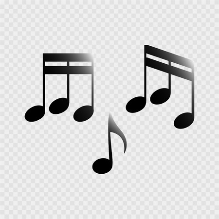 sixteenth note: Set of music notes on a grey background Illustration