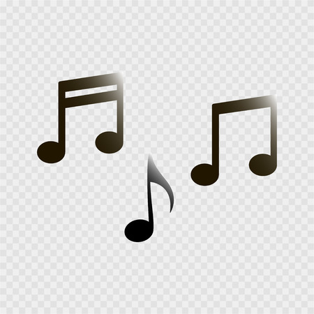 Set of music notes on a grey background Illustration