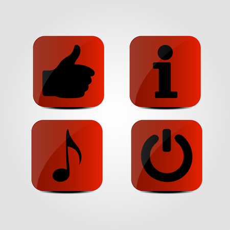 Set of icons - Thumb up, Music note, Info and Power icons