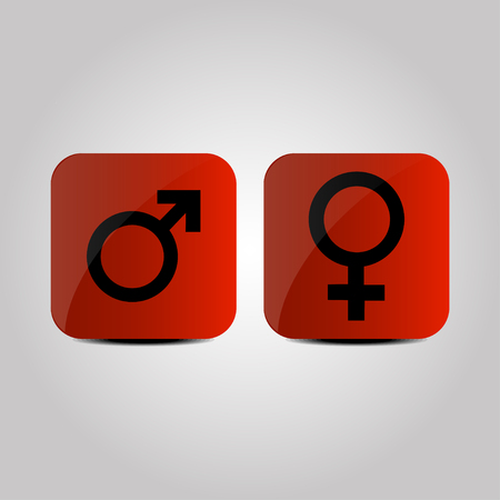 Male and female symbols on a red background