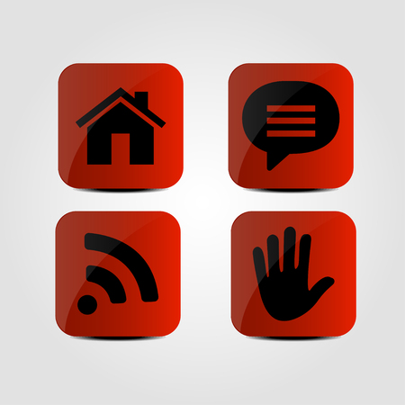 wi: Set of icons - Home, Message, Wi-Fi and Hand icons
