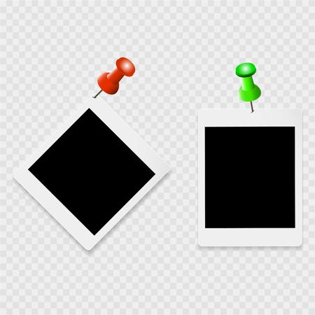 Set fotolijstjes met witte contour- en kleurenclips op een transparante achtergrond