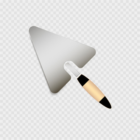 mason: Trowel with yellow handle icon on the grey background