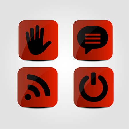hands free phone: Set of icons - Hand, Message, Wi fi and Power icons