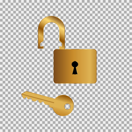 Gold lock key icon on the grey background