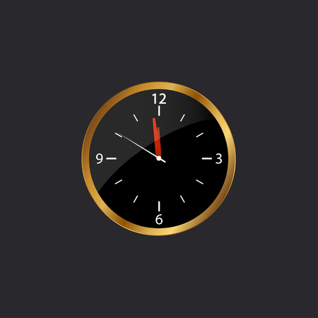 Clock with gold border icon on the black background