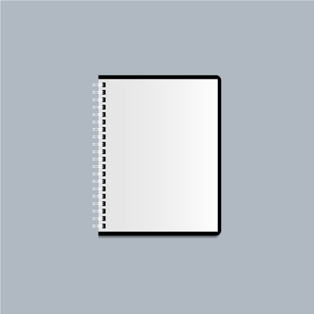 Notebook or writing pad on the grey background